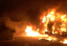 Điều tra nguyên nhân xe đầu kéo cháy dữ dội ở trạm cân