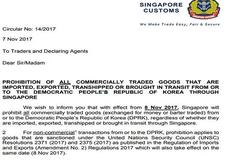 Singapore đình chỉ quan hệ thương mại với Triều Tiên