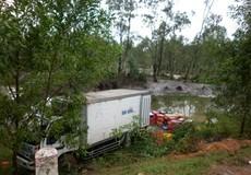 Đường trơn, xe tải lật, hàng tấn cá tràn xuống ruộng