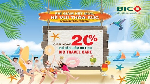 Ưu đãi 20% phí bảo hiểm du lịch BIC Travel Care trong dịp hè 2019