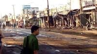Khu phố tan hoang, tiêu điều sau vụ tai nạn xe bồn chở xăng bốc cháy