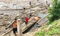 Lòng hồ thủy điện Bản Vẽ đang được dọn rác tích cực