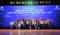 HNX vinh danh các doanh nghiệp tiển bộ về công bố thông tin và quản trị công ty tốt nhất