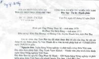 Thanh Sơn (Phú Thọ): Đề nghị Chánh án TAND cấp cao tại Hà Nội kháng nghị theo thủ tục giám đốc thẩm để hủy án sơ thẩm