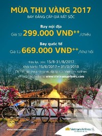 """Vietnam Airlines thực hiện chương trình ưu đãi """"Mùa thu vàng"""""""