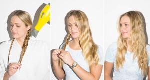 Nếu muốn tạo tóc xoăn gợn sóng nhanh chóng, bạn nên bện tóc thành 2 bím. Dùng máy sấy thẳng vào bím tóc.
