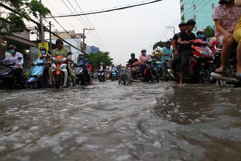 Dân Sài Gòn khốn khổ vì triều cường
