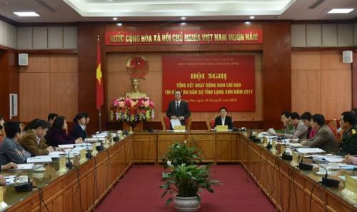 Hội nghị tổng kết hoạt động của Ban Chỉ đạo THADS tỉnh Lạng Sơn năm 2017.