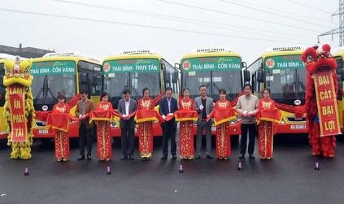 Khai trương hai tuyến buýt 07 (Thái Bình - Thụy Tân) và 08 (Thái Bình - Cồn Vành) ngày 11/2/2018