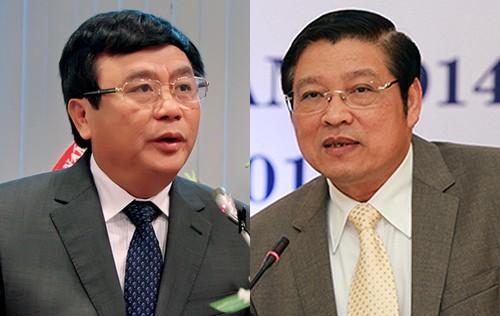 Ông Nguyễn Xuân Thắng (trái) và ông Phan Đình Trạc. Ảnh: Nhật Lâm.