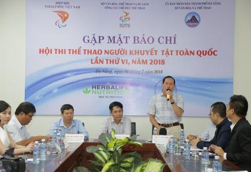 Ông Vũ Thế Phiệt (Phó Chủ Tịch kiêm Tổng Thư Ký Ủy Ban Paralympic Việt Nam) phát biểu về công tác chuẩn bị về mặt chuyên môn của Hội thi