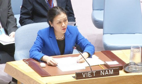 Đại sứ Nguyễn Phương  Nga phát biểu tại một phiên họp của LHQ.