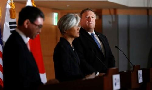 Ngoại trưởng Nhật, Hàn, Mỹ tại cuộc họp báo.