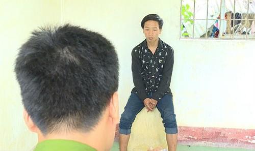 Đối tượng Nguyễn Văn Vũ tại cơ quan công an