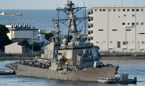 Tàu khu trục USS Fitzgerald. Ảnh: NYT/Zing