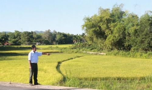 Ông Nguyễn Quốc Thành bên cánh đồng bị giặc phục kích năm 1971