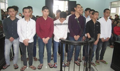 Các bị cáo trước tòa.