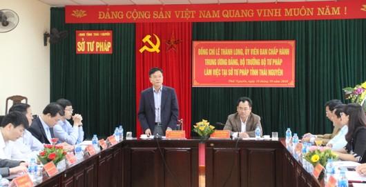 Bộ trưởng Tư pháp Lê Thành Long thăm và làm việc tại Thái Nguyênhot