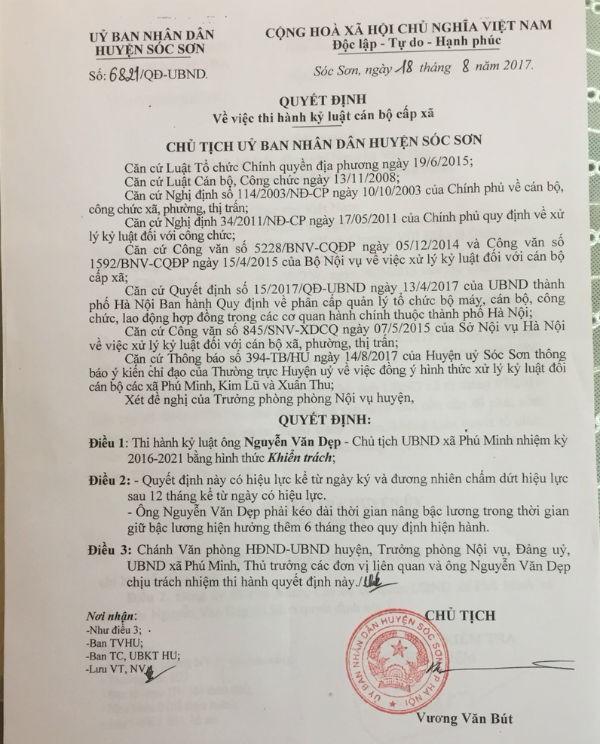 Sóc Sơn - Hà Nội: Chủ tịch xã Phú Minh liên tục bị kỷ luật