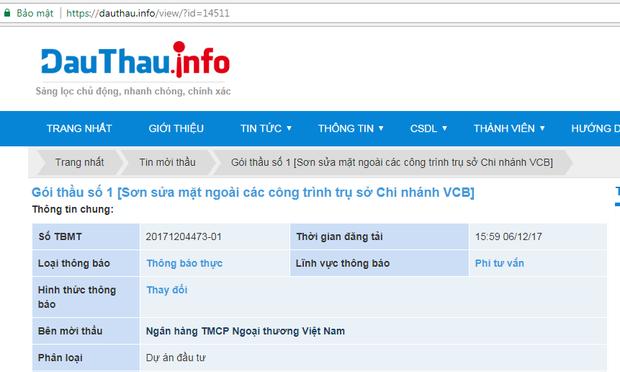 """Vietcombank cố tình """"ẩn"""" thông tin mời thầu?"""