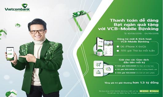 Cơ hội sở hữu Iphone X 64Gb cùng hàng ngàn phần quà hấp dẫn khi đăng ký và sử dụng VCB – M obile B@nking