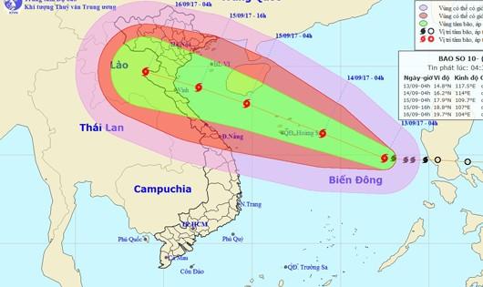 Bão giật cấp 15 đang tiến thẳng đến Thanh Hóa-Hà Tĩnh