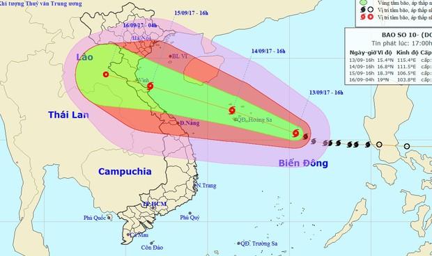 Từ 15/9, bão giật cấp 15-16 khả năng đổ bộ Nghệ An - Quảng Trị