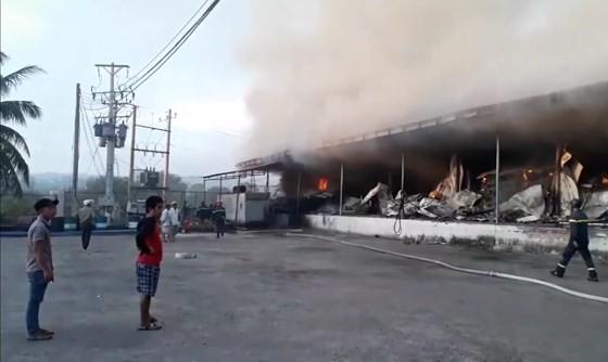Hỏa hoạn thiêu rụi vựa thanh long hàng trăm tấn ở Bình Thuận