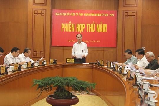 Ban Chỉ đạo Cải cách tư pháp Trung ương họp phiên thứ 5