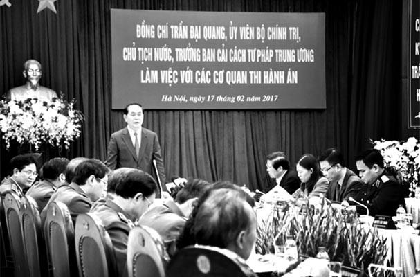 Hai lần Chủ tịch nước Trần Đại Quang động viên Hệ thống Thi hành án dân sự nỗ lực vươn lên