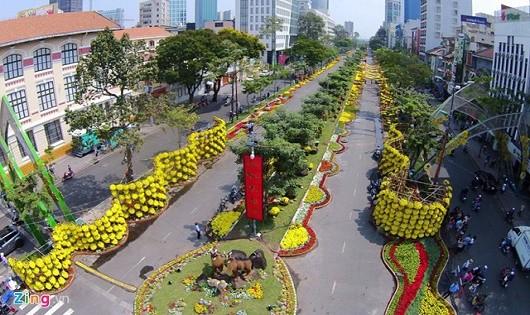 Sinh viên ăn Tết xa nhà để bảo vệ đường hoa Nguyễn Huệ