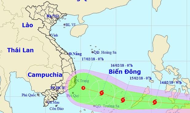 Bão giật cấp 11 hướng vào vùng biển Khánh Hòa - Bình Thuận