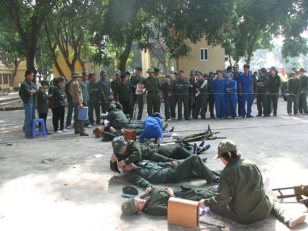 Hoạt động diễn tập của quận Hoàng Mai.