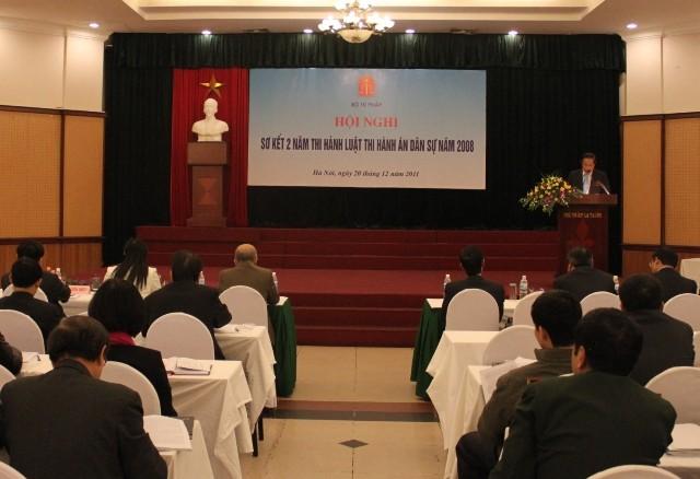 Toàn cảnh Hội nghị sơ kết 2 năm thực hiện Luật Thi hành án dân sự.