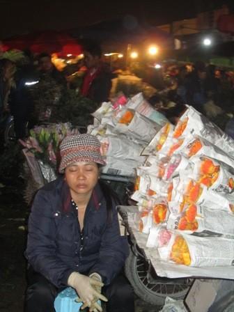 Giấc ngủ tranh thủ giữa chợ hoa khi vắng khách.