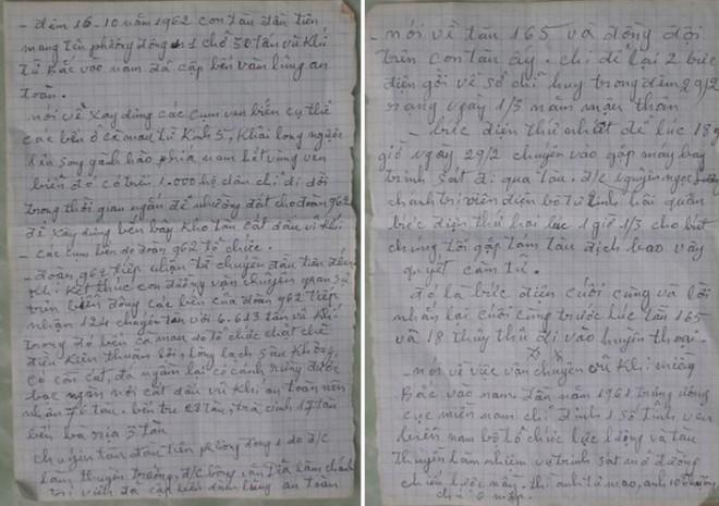 Những dòng ký ức được bà Bảy Thu ghi nhận thực tế vào năm 1962,  khi đang cùng đồng đội trên đoàn tàu không số.
