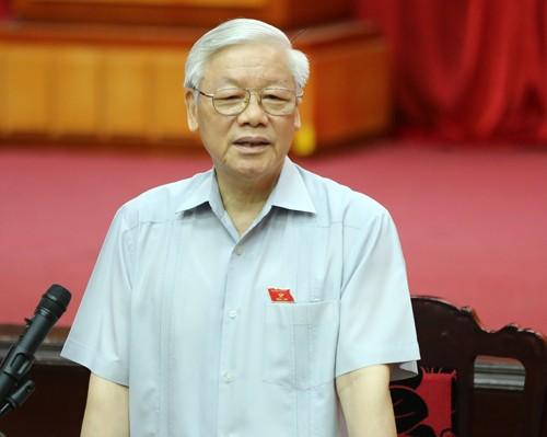 Tổng Bí thư Nguyễn Phú Trọng tại buổi tiếp xúc cử tri sáng 17/6. Ảnh: Hoàng Phong.