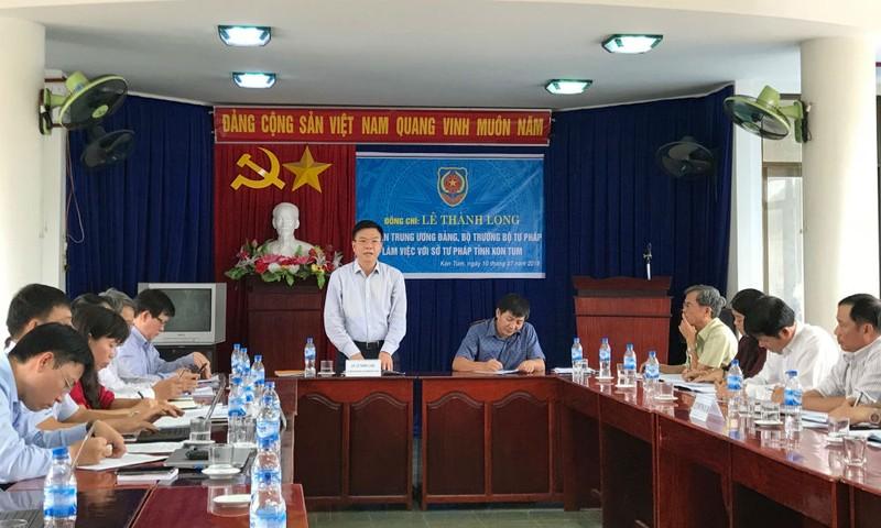 Bộ trưởng Lê Thành Long: Thách thức cũng là cơ hội tốt để tư pháp Kon Tum tự hoàn thiện