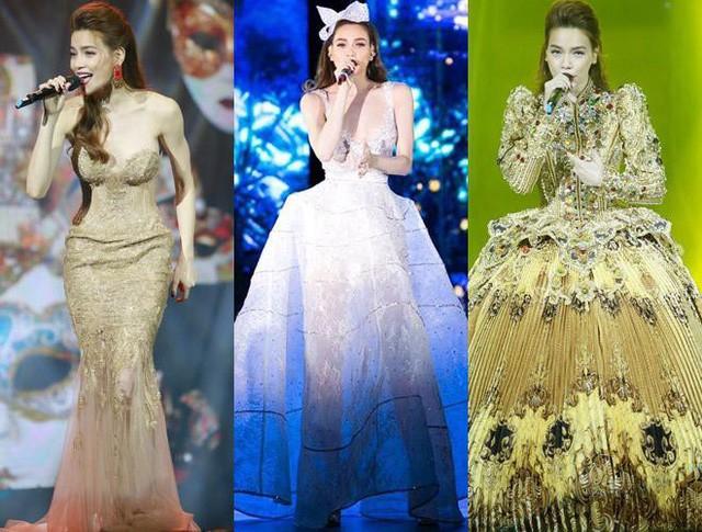 Gu thời trang cũng là một thế mạnh nổi bật của Hà Hồ mỗi khi bước lên sân khấu.