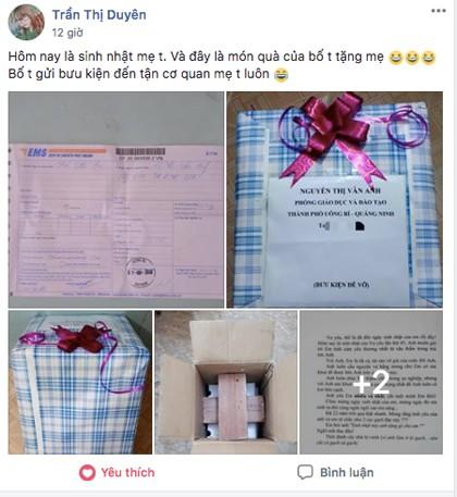 Anh chồng Quảng Ninh tặng sinh nhật vợ hai viên gạch