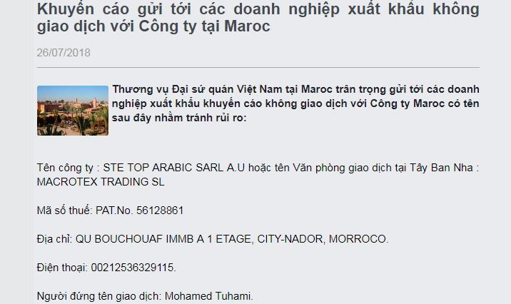 Khuyến cáo không giao dịch với 1 Công ty Maroc để tránh rủi ro