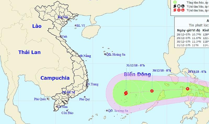 Ngày 31/12, đề phòng bão giật cấp 10 'quét' Trường Sa
