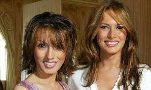 Đệ nhất phu nhân Mỹ Melania, phải, và chị gái Ines Knauss. Ảnh: Express.