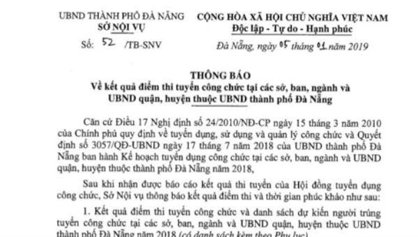Đà Nẵng công bố kết quả chấm lại hơn 700 bài thi công chức