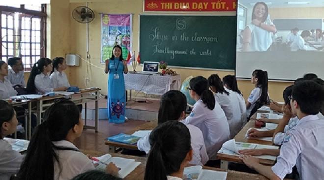 Một tiết học cô giáo Thúy giảng dạy tại Trường THPT Đức Hợp