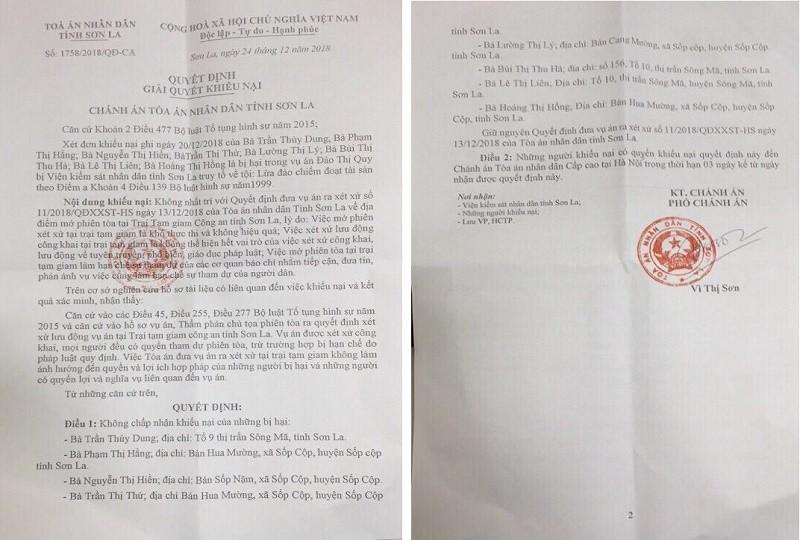 """Vụ xét xử """"công khai"""" trong trại giam: TAND tỉnh Sơn La trả lời đơn khiếu nại thiếu thuyết phục"""