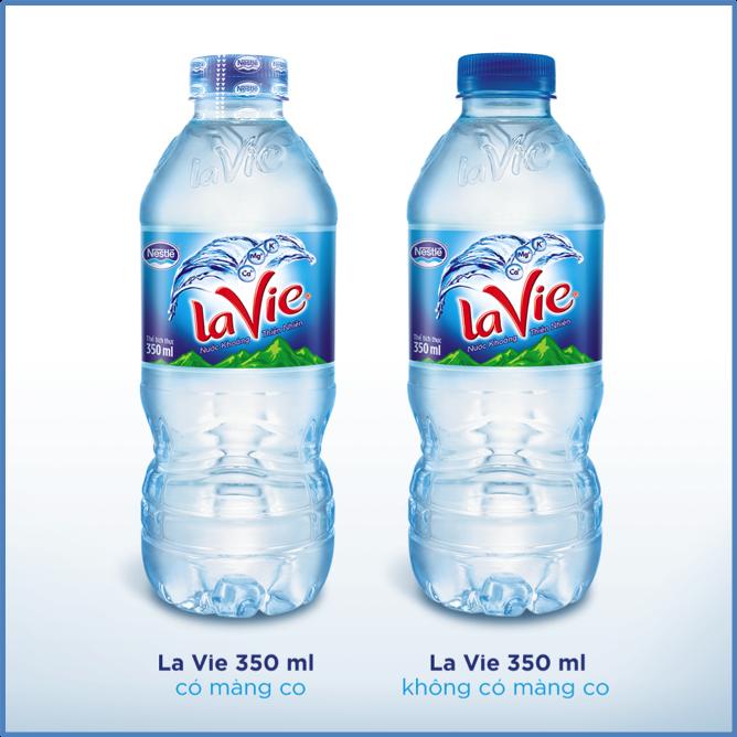 Nhãn hiệu La Vie ngưng sử dụng màng co nắp chai cho sản phẩm 350ml