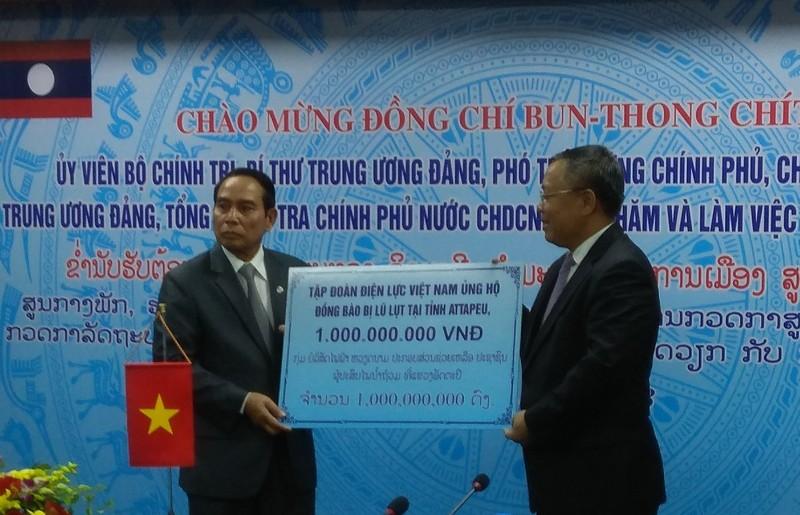 Tập đoàn điện lực Việt Nam hỗ trợ Lào 1 tỷ đồng  khắc phục sự cố đập thuỷ điện