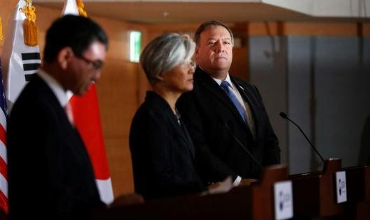 Mỹ, Nhật, Hàn cam kết hợp tác về phi hạt nhân hóa Triều Tiên