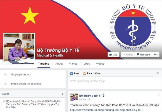 Bộ trưởng Nguyễn Thị Kim Tiến công khai địa chỉ Facebook